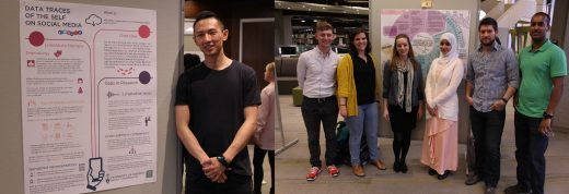 """April 2017 KMDI Poster Session Winners. Allen Li won for his poster, """"Data Traces of the Self on Social Media."""" The team made up of Abeera Ali, Daipayan Guha, Hendrik Ophardt, David Gafni, Mayan Murray and Carly Warren also won for their work, """"Surgeon Attitudes Towards AR in NSI Procedures."""""""