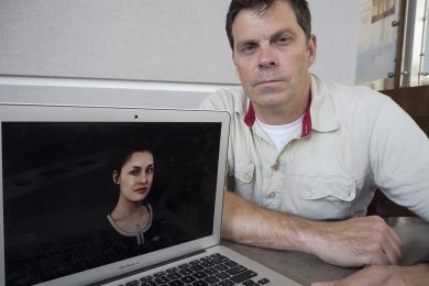 "Matt McPherson, the head of corporate development at Quantum Capture, shows off ""Alyssa,"" one of the Toronto startup's digital humans (photo by Chris Sorensen)"